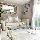Silver Stainless Steel Coffee Table Clear Glass Contemporary Lounge Living Room