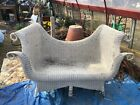 Antique 1899 1900 Very Ornate Victorian White Photographers Wicker Settee