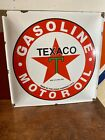 ''TEXACO'' MOTOR OIL GAS VINTAGE. PORCELAIN ADVERTIZING SIGN 12''X12'' GOLDEN