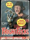 1988 FRIGHT FLICKS UNOPENED BOX OF 36 PACKS NO X OUT ON BOX