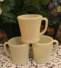 Vintage Lot of 3 FIRE KING Ivory OVEN WARE Coffee Cups/Mugs FLAT BOTTOM