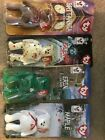 TY Beanie Baby MAPLE, ERIN, BRITTANIA, GLORY in original packaging