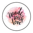 30 MADE WITH LOVE ENVELOPE SEALS LABELS STICKERS 15 ROUND