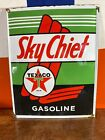 LARGE ''TEXACO'' SKY CHIEF. PORCELAIN ADVERTIZING SIGN 16.5X13' ON HEAVY METAL!