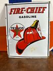 LARGE ''TEXACO'' FIRE CHIEF. PORCELAIN ADVERTIZING SIGN 16.5X13' ON HEAVY METAL!