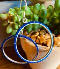 Native American Sterling Silver Hoop Gorgeous X Large Gorgeous Lapis Earrings