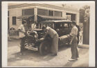 Youths at Texaco Station service 1931 Chevrolet Sedan vernacular photo ca 1940s