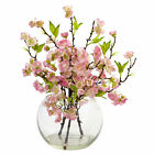 Cherry Blossom In Large Vase 14 Tall Arrangement Nearly Natural Home Decoration
