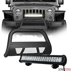 Matte Black Studded Mesh Bull Bar Guard+120W CREE LED Lamp For 10 18 Wrangler JK