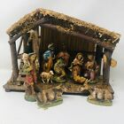 Vintage Italian Nativity Set Christmas Manger Scene 10 Figures Made In Italy
