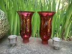 Ruby red etched glass Hurricane Candle holder Globe Sconce Sterling Silver Base
