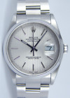 ROLEX - Men's 36mm SS DATEJUST Silver Tapestry Stick Dial 16200 SANT BLANC