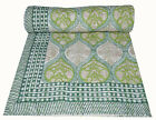 Indian Floral Hand block Print Kantha QuiltBlanket Cotton Queen Bedspread Thro