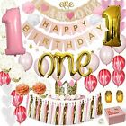 Baby Girl 1st Birthday Decorations White Pink And Gold Party Supplies Set For