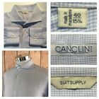 EXC COND SUITSUPPLY MENS 1575 40 100 ITALIAN CANCLINI LINEN CHECK PLAID SHIRT