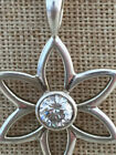 Silpada Sterling Silver Flower CZ Pendant S1195 Retired CUTE and SOLID
