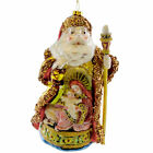 Holiday Ornament SANTA WITH NATIVITY Blown Glass Ornament Holy Family 3620538