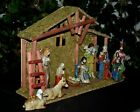 Vintage Nativity Set 12 Manger Creche Colorful Hand Painted Ceramic Figurines