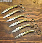 LOUIS MARTIN RARE CUSTOM MADE DAMASCUS A LOT OF 6 FOLDING KNIFE KEY CHAIN RING