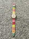 Rare SWATCH AG2000 Ladies Watch. Metal See Through Dial And Multicoloured Strap