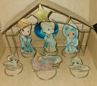 RARE PRECIOUS MOMENTS 7 PIECE NATIVITY SET STAINED GLASS UNIQUE