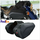 Motorcycle Oxford Luggage Saddle Bags with Rain Cover Protector -New USA Stock