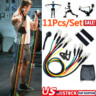 11 Piece Resistance Band Set Yoga Pilates Abs Exercise Fitness Tube Workout Band
