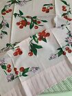 New LuRay Vintage Style Pretty Kitchen Tea Towel Beautiful PINK CHERRY Print
