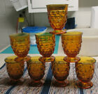 FOSTORIA INDIANA AMERICAN WHITEHALL COLONY AMBER JUICE GLASS TUMBLERS CUBIST(2)