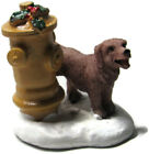 Lemax Village Figure Brown Dog Lifting Leg on Christmas Decorated Fire Hydrant