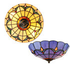 Retro Tiffany Style Flush Mount Ceiling Light Flower Stained Glass Lamp Fixture