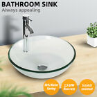 Vessel Glass Sink Bathroom Drain Faucet Bowl Tempered Combo Pop Up Basin Round