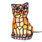 8 Inch Cute Cat Tiffany Style Stained Glass Accent Table Lamp Night Light Gift