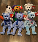1999 Holiday Teddy (2), Mrs., Shudders, April Fool, Eggs 2, Beanie Babies, New!