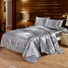 Super Soft Silky Satin Luxury Bed Sheet Set Grey Queen King Stain Resistant