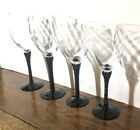 Vintage Set 4 Two Tone Black glass water wine goblet Tall 1980s Textured Swirl