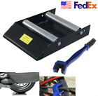 1 PC x Motorcycle Stand Wheel Roller Ramp Lift Stand + Chain cleaning brush US
