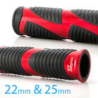 Wave style grips black TPR + red aluminum trim 22mm x1 + 25mm x1 moped bike