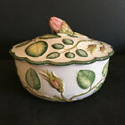 Zaccagnini Small Covered Bowl Rose  Bud Pattern