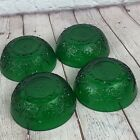4 Vintage Anchor Hocking FOREST GREEN Sandwich Glass BERRY BOWLS 4 1/4