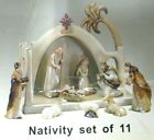 Nativity Set Earthenware Pottery 11 Piece Set Neutral Browns Glossy NIB NEW