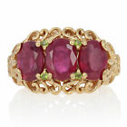 Sterling Lead Glass Filled Ruby  Peridot Ring 925 Gold Plated 458ctw 6 6 1 4
