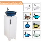 14 White Bathroom Vanity Cabinet Set Vessel Glass Ceramic Sink Faucet Combo New