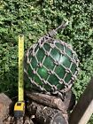Vintage Large Japanese Blown Green Glass Fishing Buoy with Net 12 Diameter
