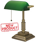 Desk Lamp Light W Green Glass Shade Electric Antique Brass Finish Bankers Style
