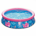 Summer Waves Quick Set 5ft x 15in Round Inflatable Ring Kiddie Pool Pink Whale