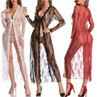 US Women Sexy Lingerie Set Lace Kimono Long Robe Babydoll Nightgown Cover Up