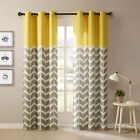 Intelligent Design Yellow in Grey Chevron Printed Curtains for Living Room or Be