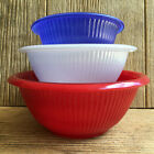 Red White Blue Mixing Nesting Bowls Vintage Federal Glass Rolled Rim Ribbed Side