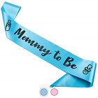CORRURE Baby Shower Sash for Boy Mommy to Be Sash with Beautiful Blue Ribbon